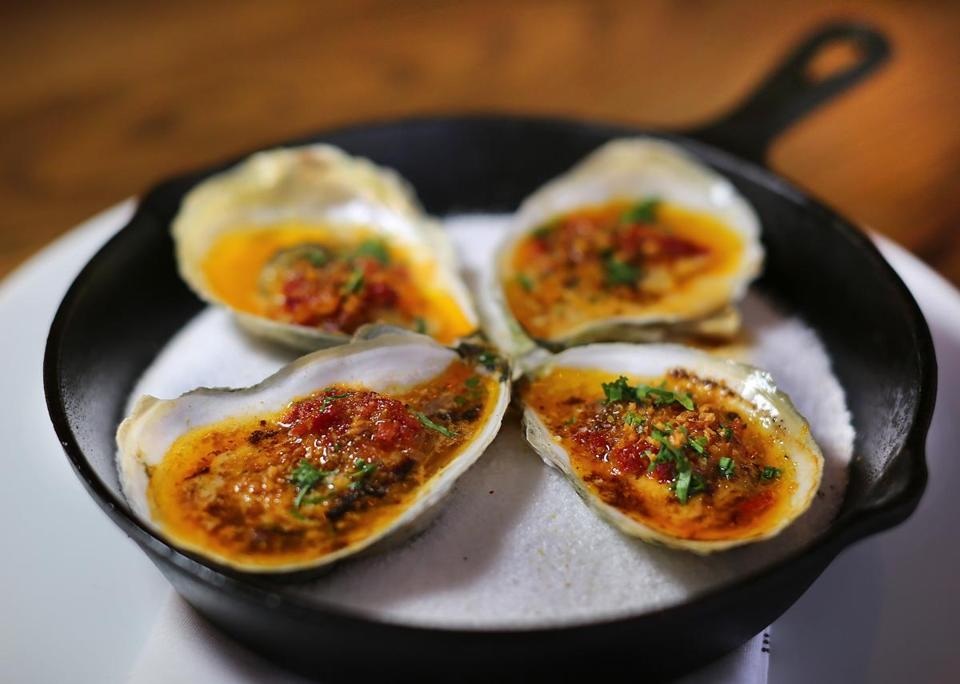 Roasted oysters bathed in butter, uni, and piquillo peppers.